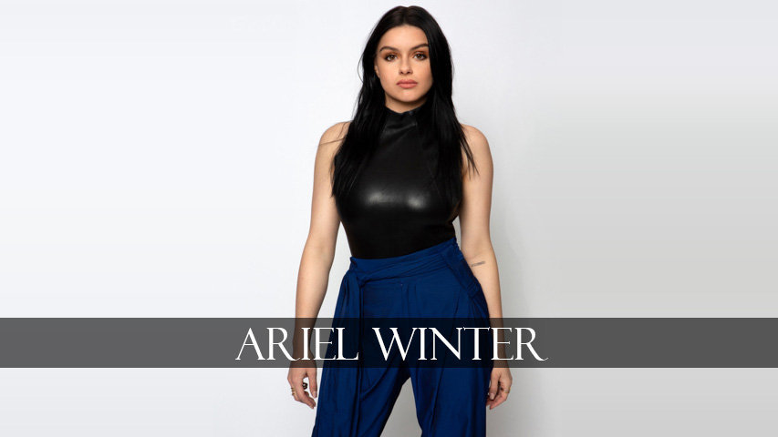 Ariel Winter wears blue pant and black top
