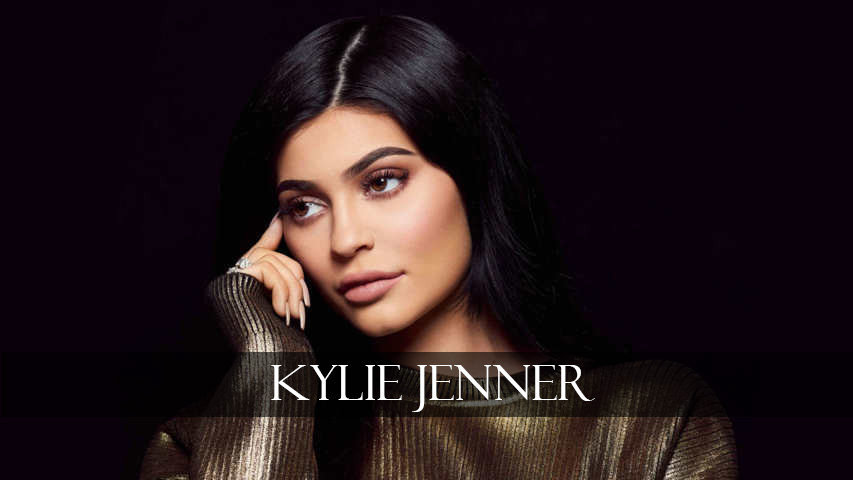Kylie Jenner thinks in balck background
