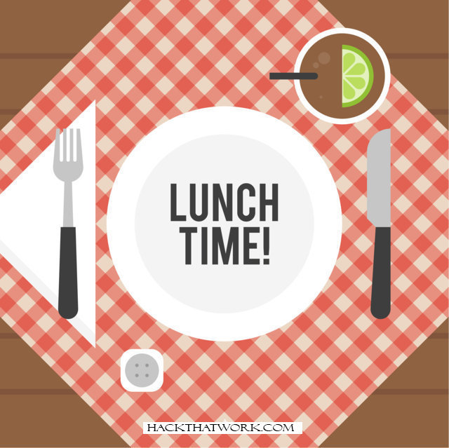"""text """"lunch time"""" on a plate and fork & knife beside it, Weight Loss"""