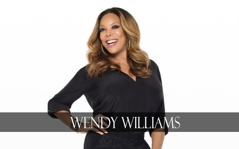 wendy williams wears black cloth with white background