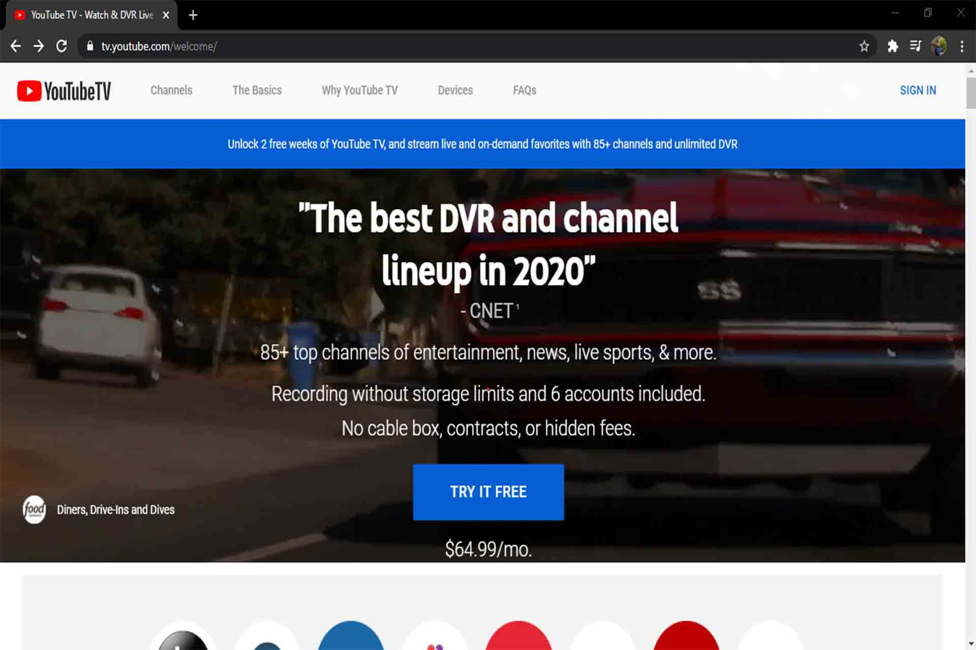 youtube Tv home screen