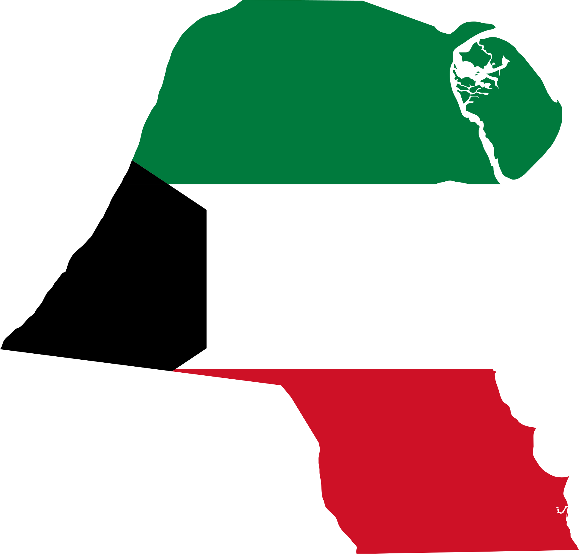 Kuwait Map Flag, Polluted Countries