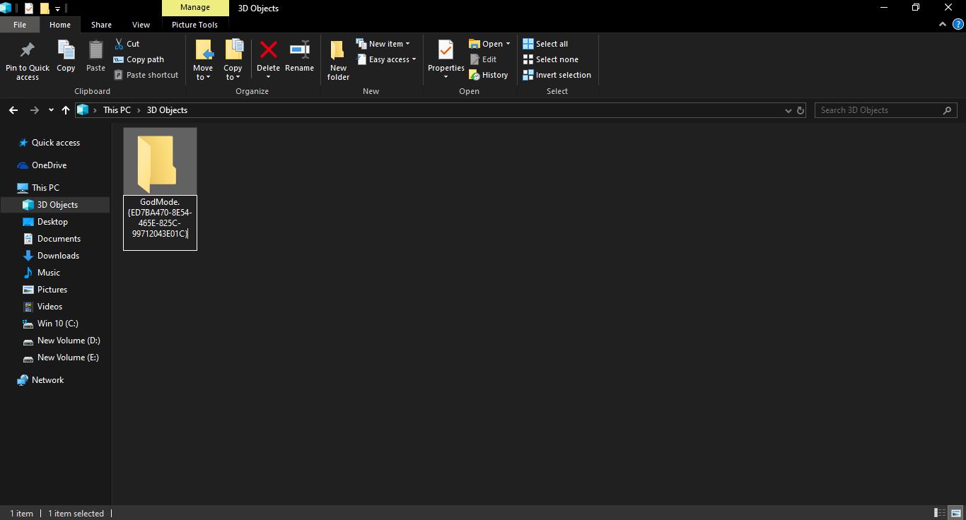 Godmode folder in Windows 10 , Windows 10 Features