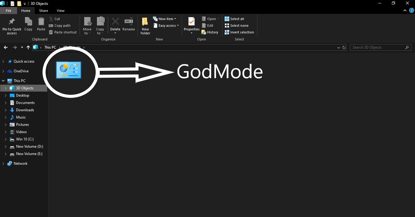 GodMode window on windows 10, Windows 10 Features