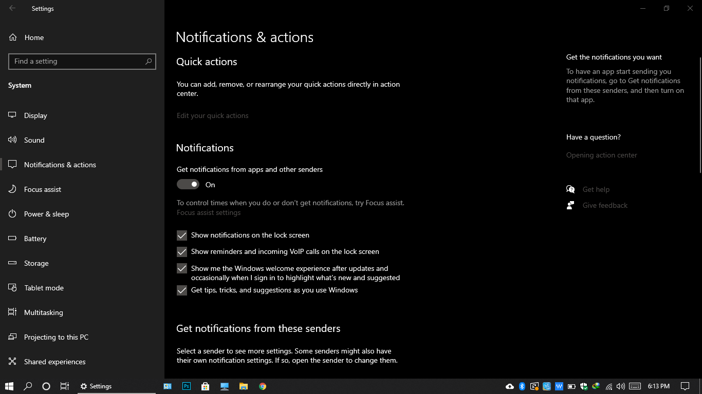 Notification and Actions in Windows 10, Windows 10 Features
