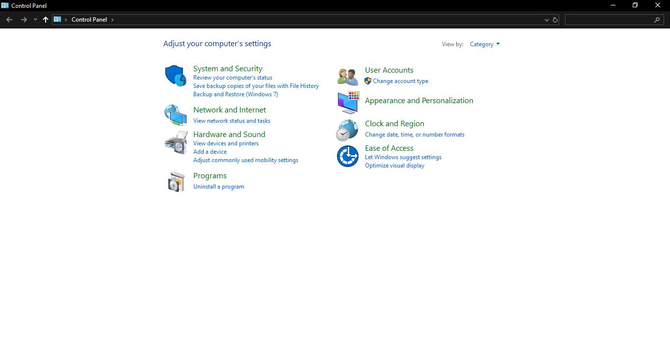 Control Panel of Windows 10, Windows 10 Features