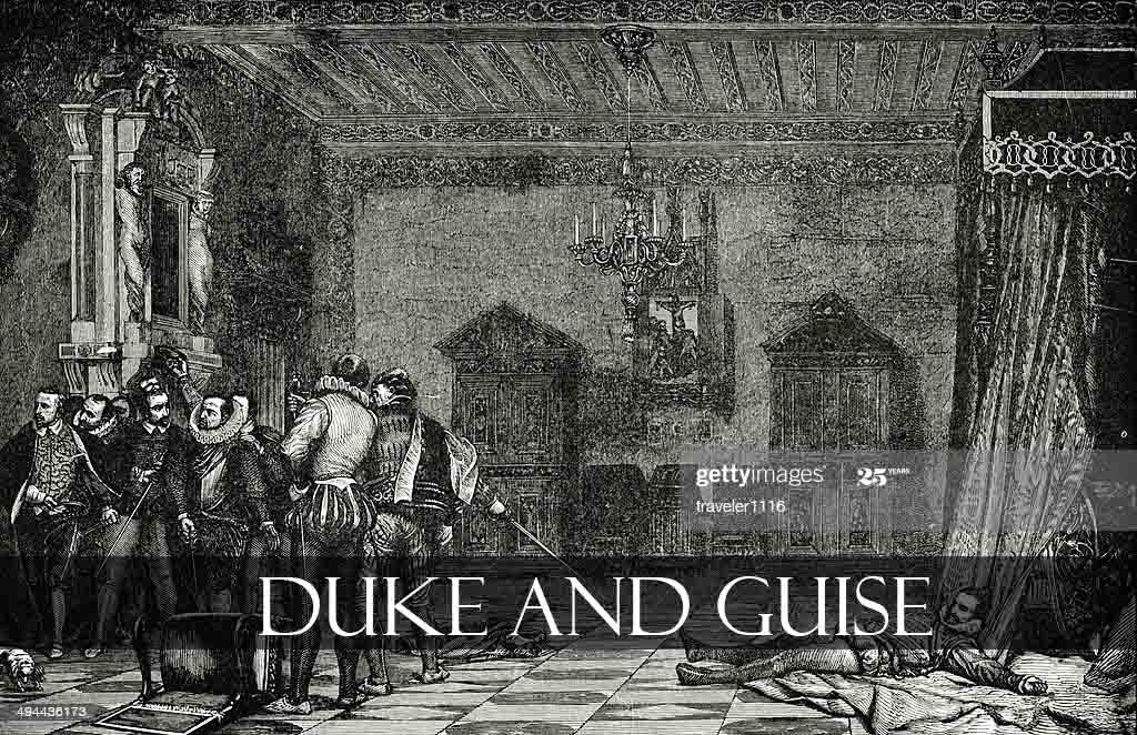Engraving from 1882 showing the death of the Duke of Guise.
